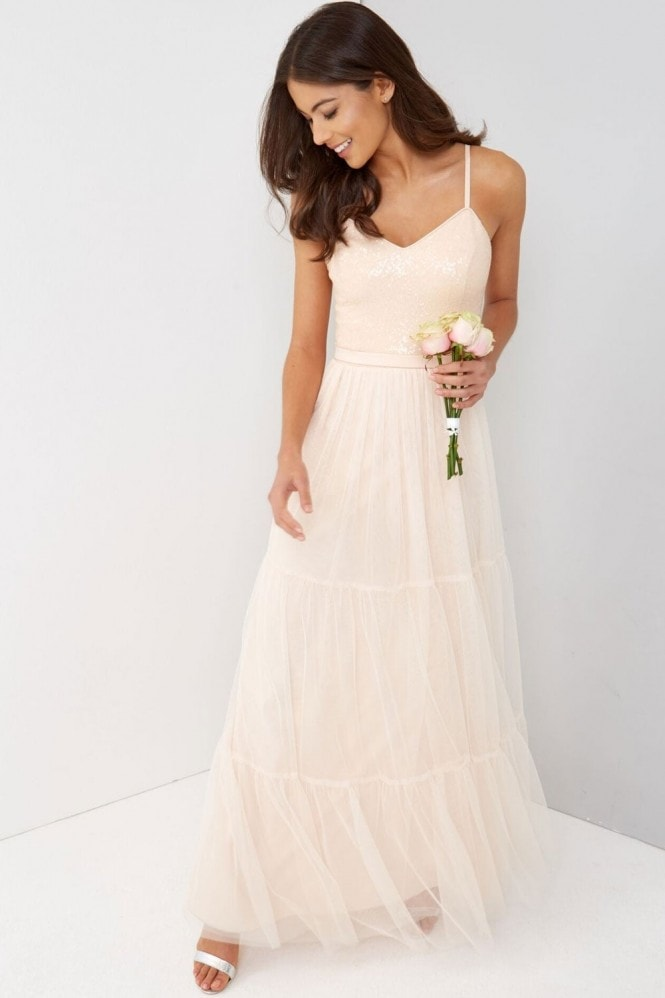 Little Mistress Nude Tulle Maxi Dress