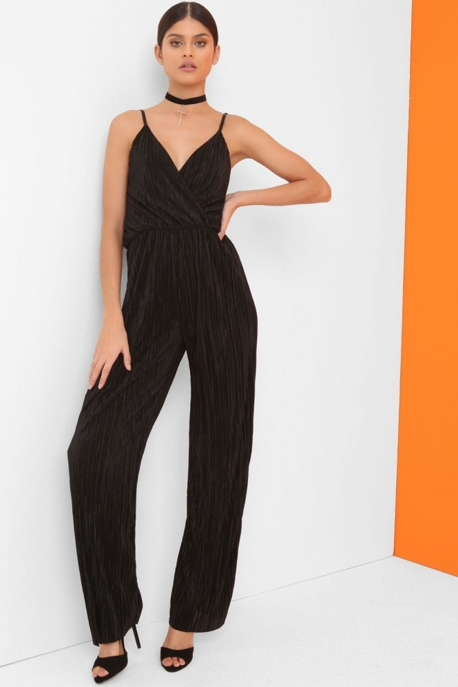 Girls on Film Black Pleat Jumpsuit