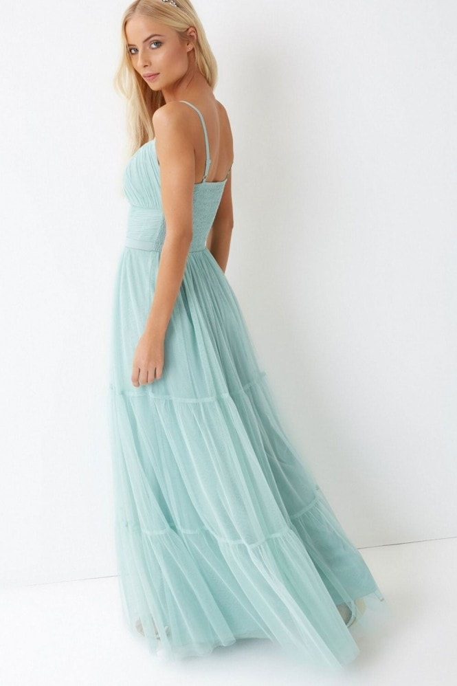Green Tulle Maxi Dress