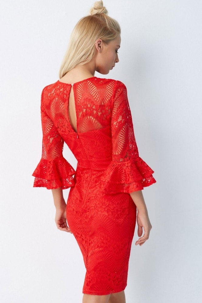 Little Mistress Red Lace Bodycon Dress