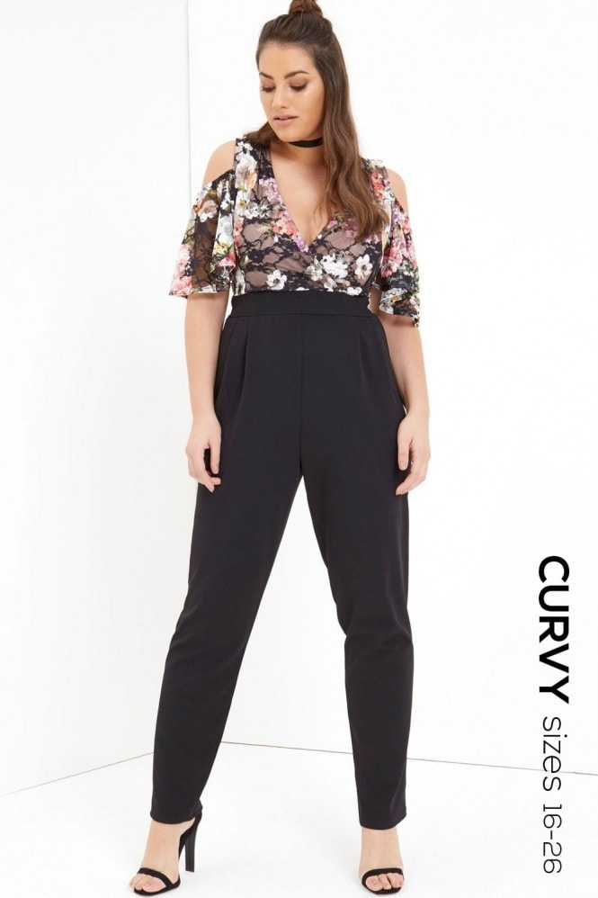 Girls On Film Curvy Print Top Jumpsuit