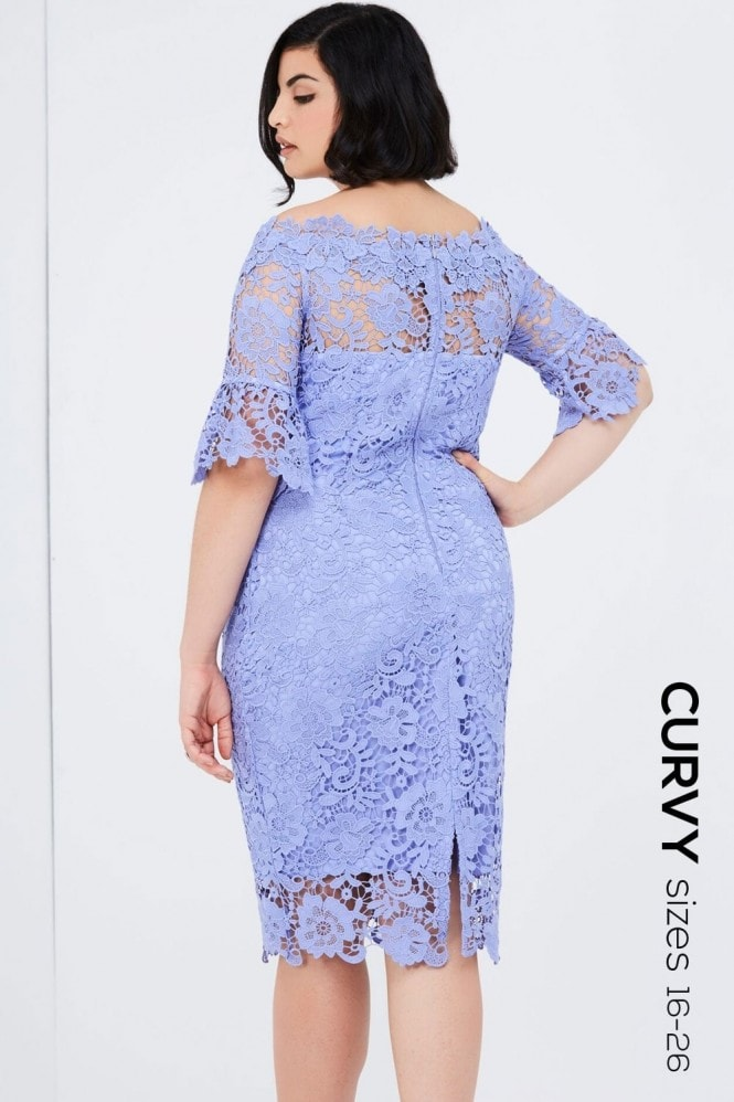 Paper Dolls Curvy Blue Bardot Dress