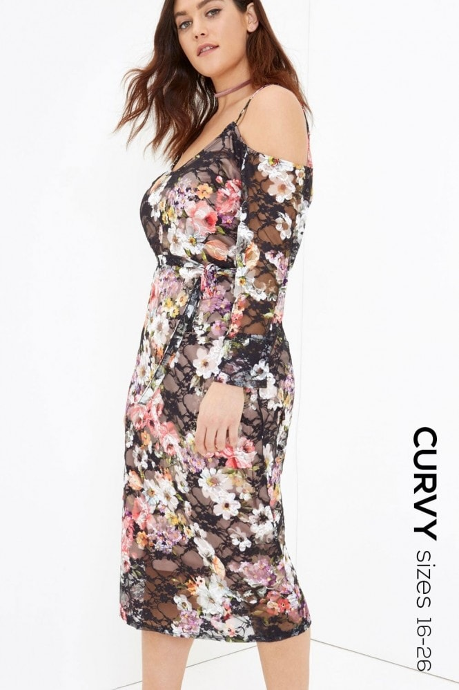 Girls On Film Curvy Print Midi Dress