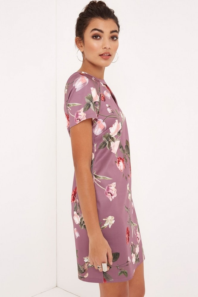 Girls on Film Tulip Print Shift Dress With Keyhole
