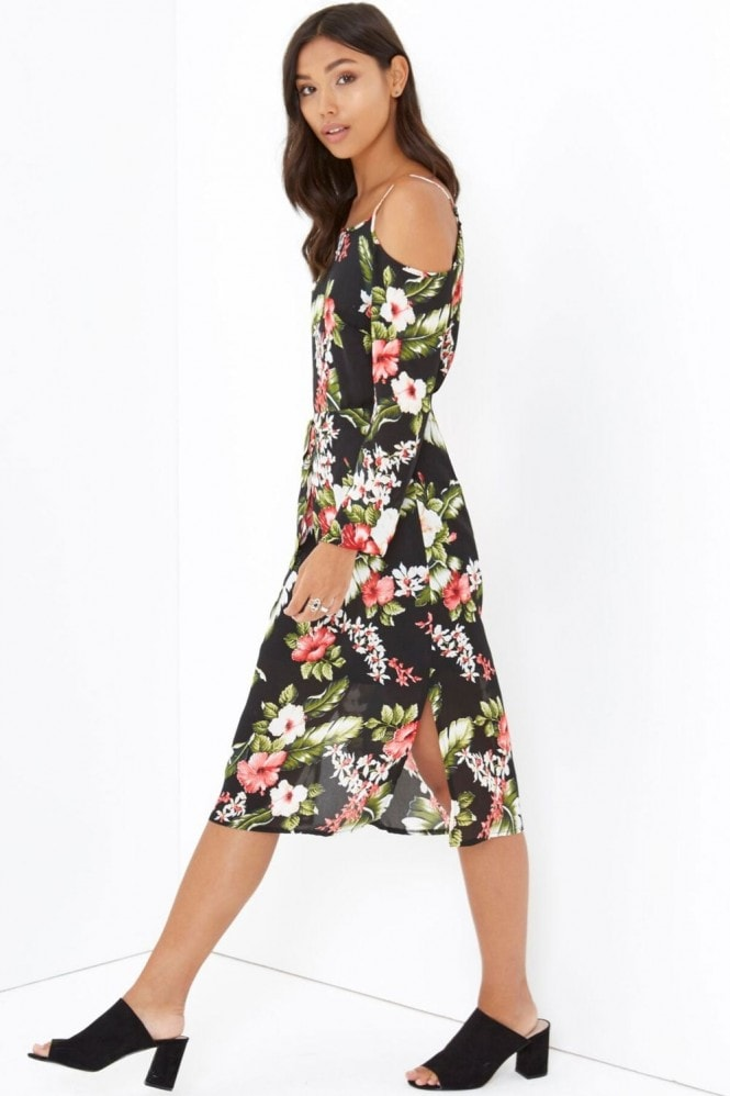 Outlet Girls On Film Cold Shoulder Print Midi Dress