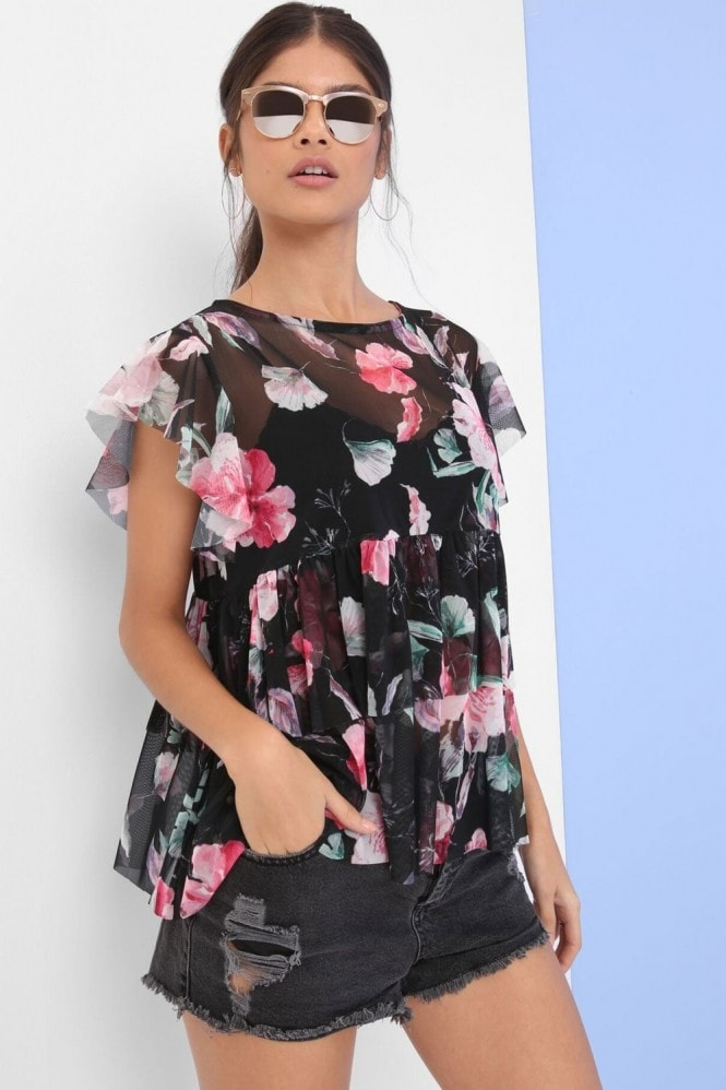 Outlet Girls On Film Floral Print Mesh Top