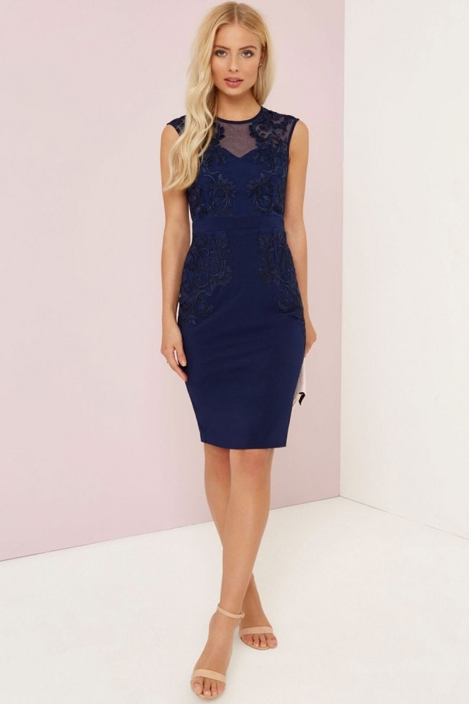 Little Mistress Navy Embroidered Bodycon Dress