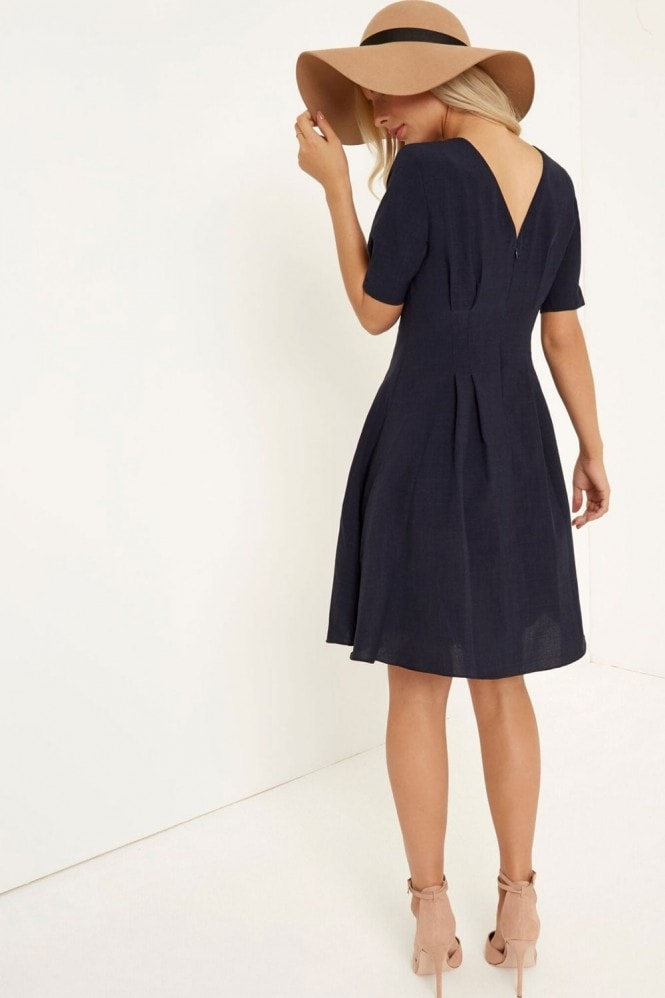 Little Mistress Navy Fit And Flare Midi Dress