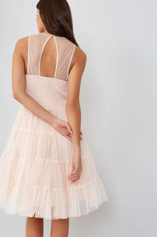 Little Mistress Tulle Nude Prom Dress