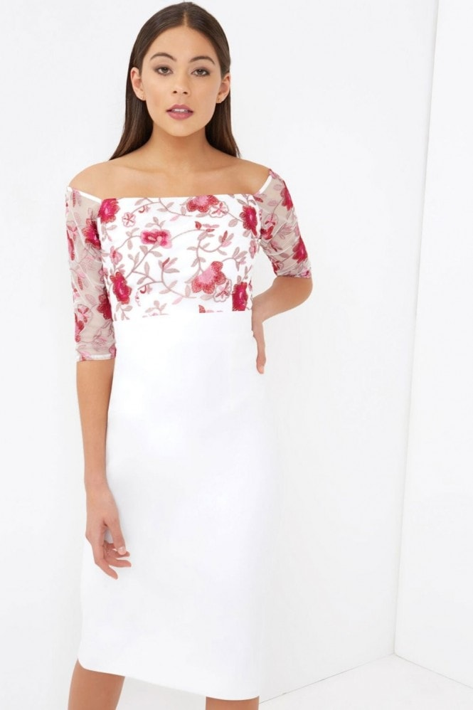 Little Mistress Embroidered Top Bodycon Dress
