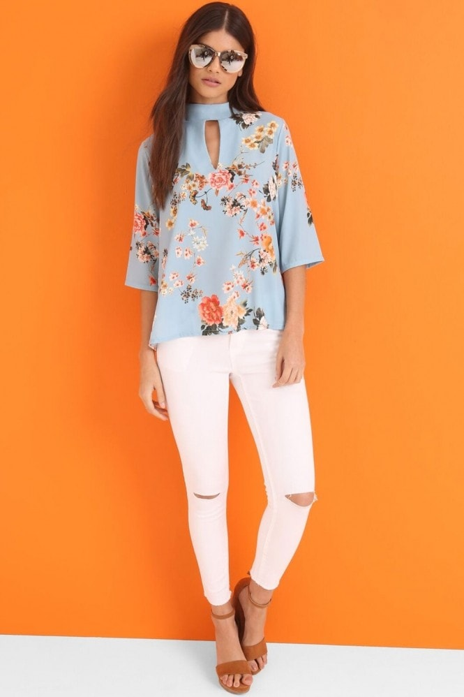 Outlet Girls On Film Blue Print Top