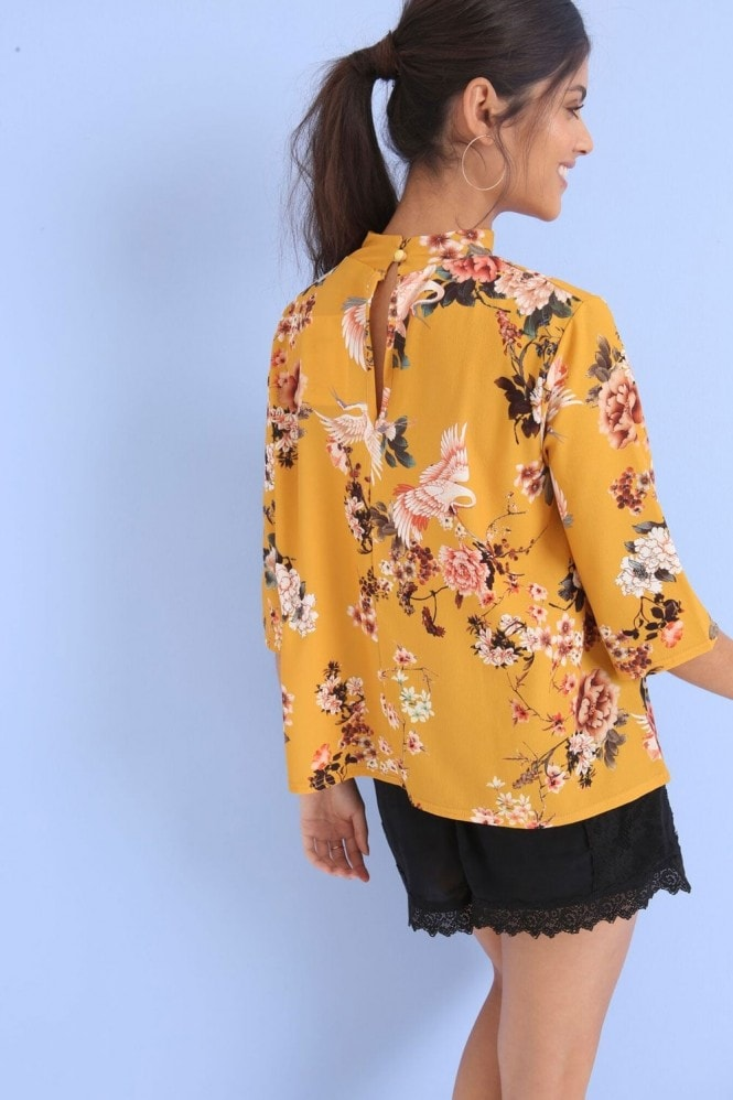 Outlet Girls On Film Yellow Print Top