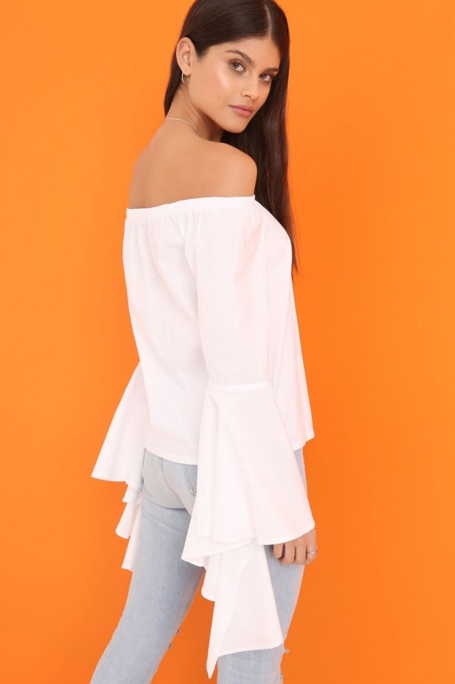 Outlet Girls On Film White Bardot Top