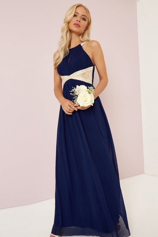 Little Mistress Navy Embellished Lace Panel Detail Maxi
