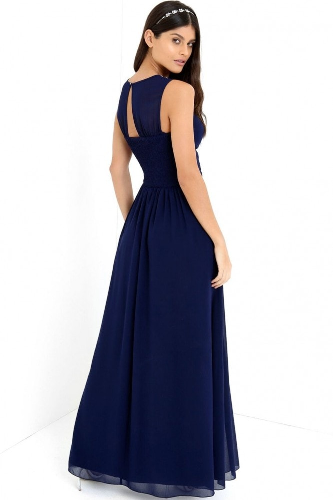 Little Mistress Navy Embellished Neck Maxi Dress