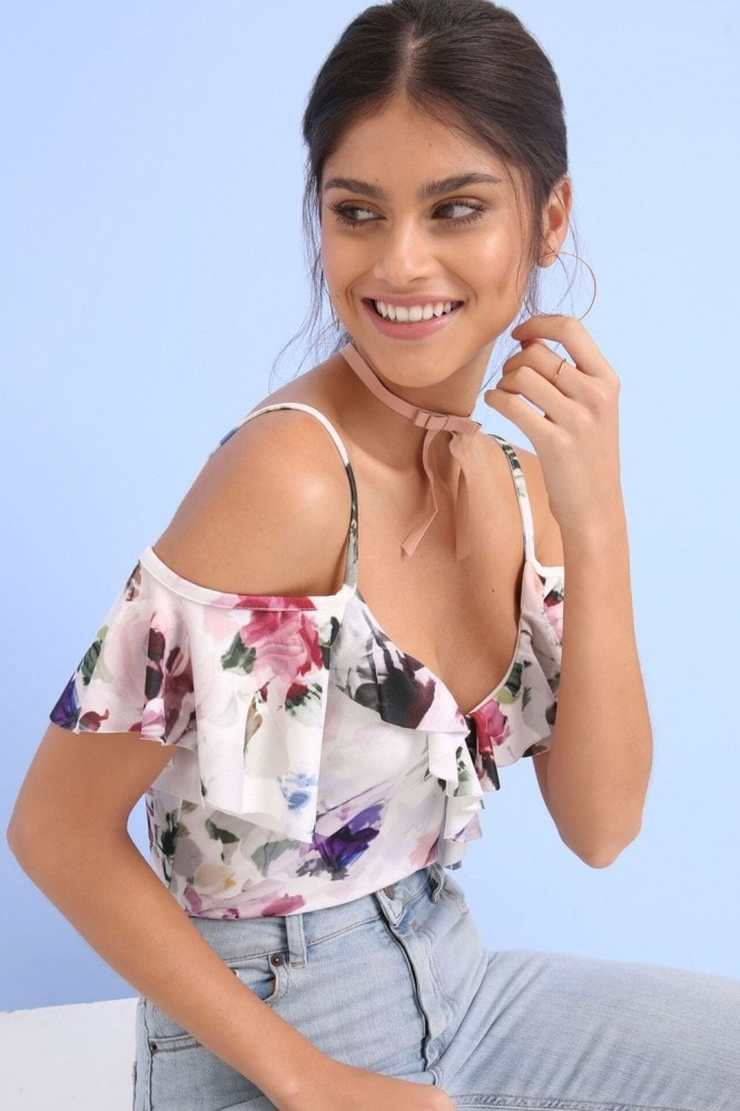 Girls on Film Floral Print Ruffle Bodysuit