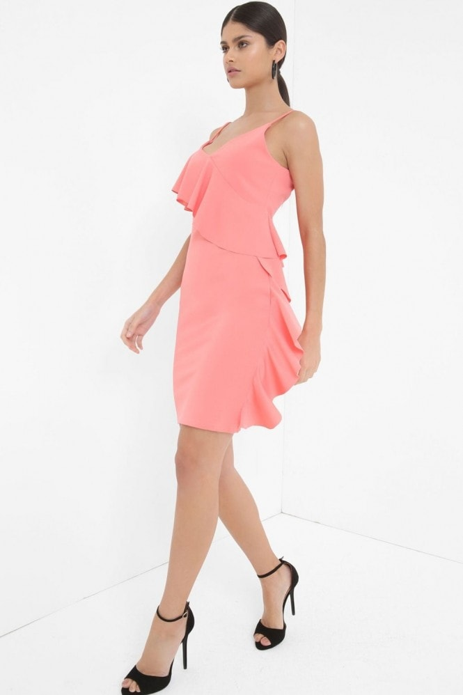 Outlet Girls On Film Coral Midi Dress