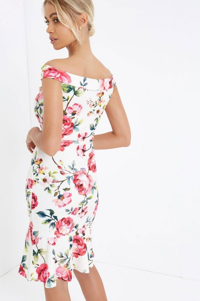 Girls on Film Rose Print Bodycon Dress