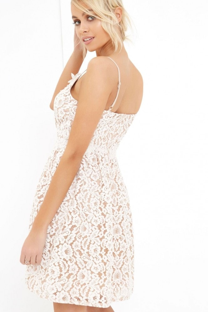 Little Mistress White Lace Midi Dress