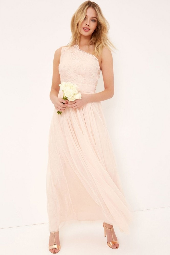 Little Mistress Nude Embroidery and Sequin Maxi Dress