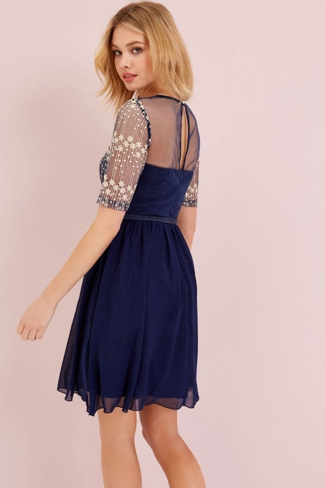 Little Mistress Navy Mesh Embroidered Dress