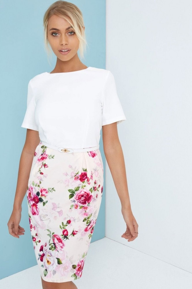 Paper Dolls Floral Skirt Bodycon Pencil Dress