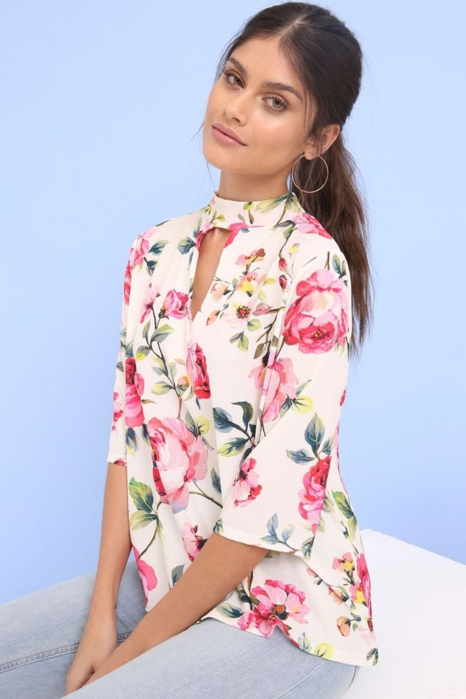 Outlet Girls On Film Rose Print Top