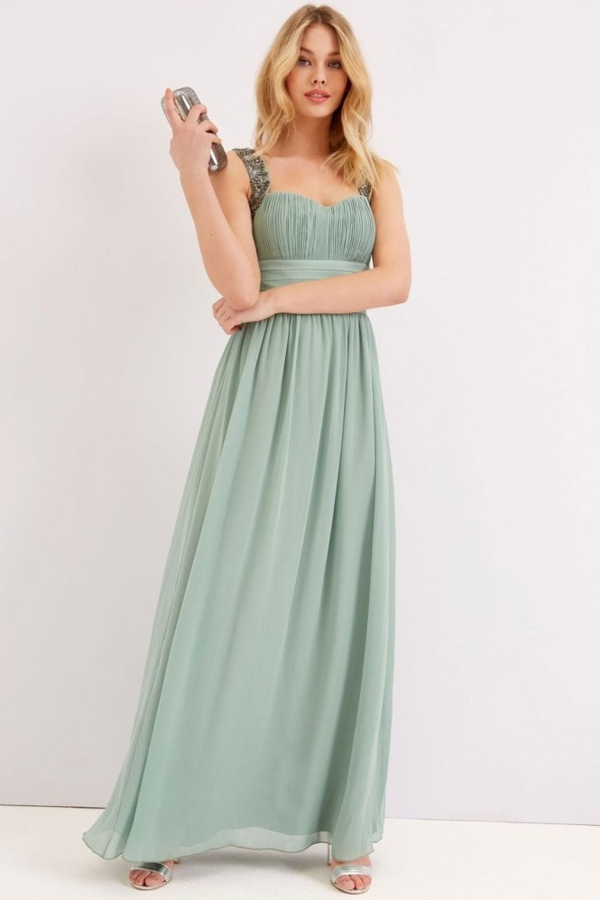 Little Mistress Green Cinched Waist Maxi