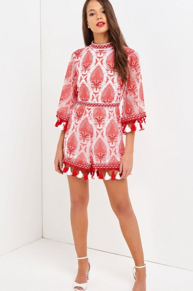 Outlet Girls On Film Coral Playsuit