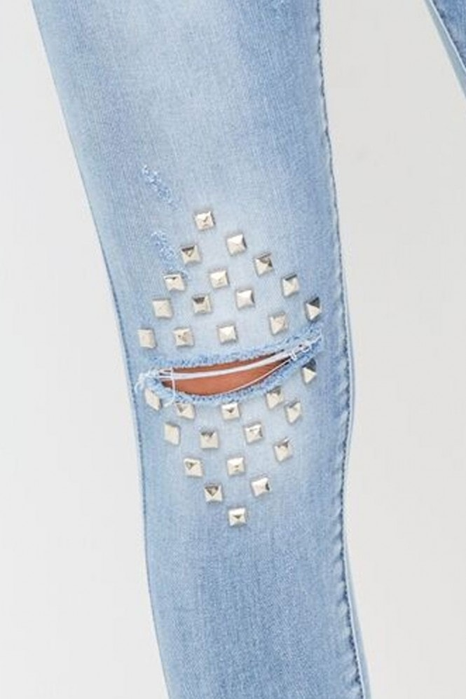 Outlet Girls On Film Silver Stud Jeans