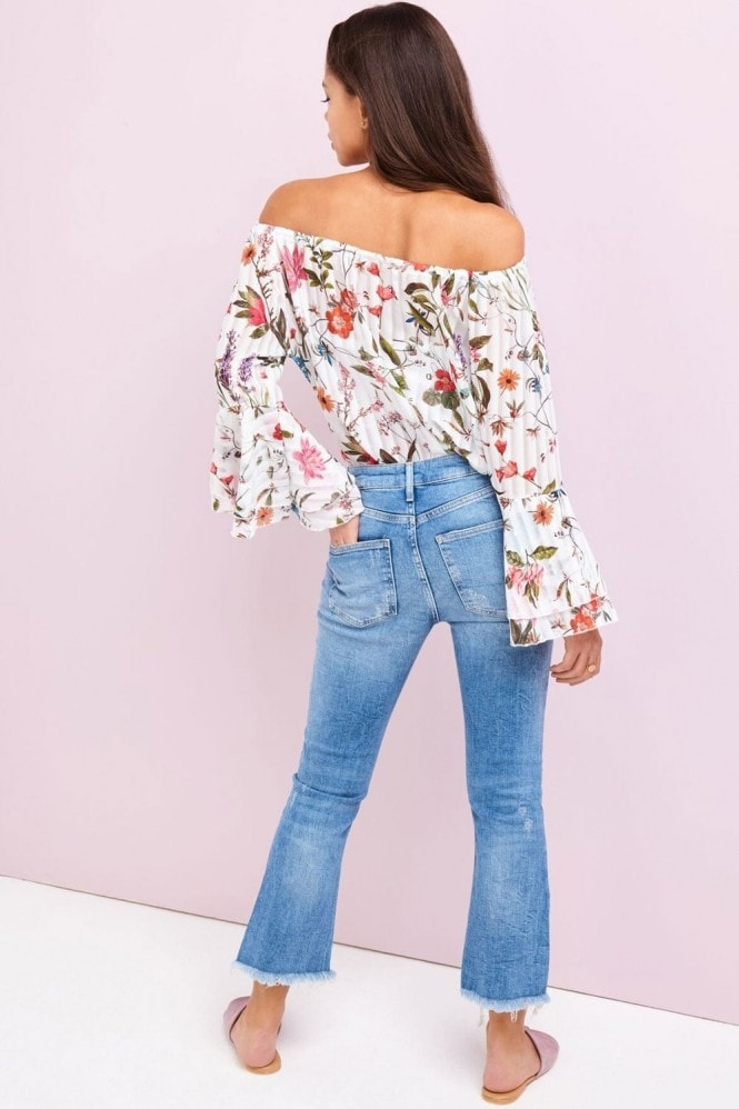 Girls on Film White Floral Print Bardot Top