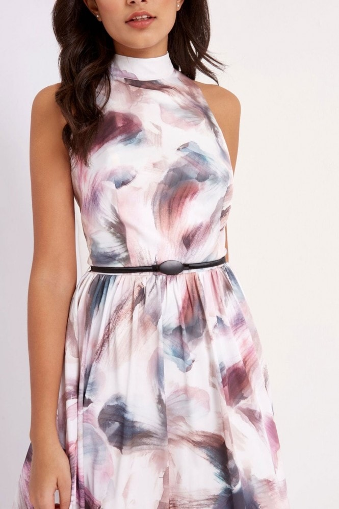 Little Mistress Print High Neck Prom
