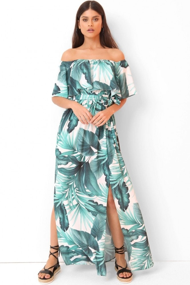 Outlet Girls On Film Palm Print Maxi Dress