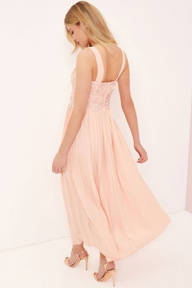 Little Mistress Pink Pleat Skirt Maxi Dress