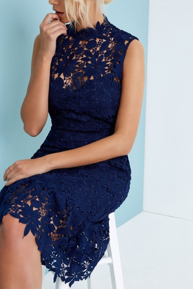 Paper Dolls Navy High Neck Crochet Dress