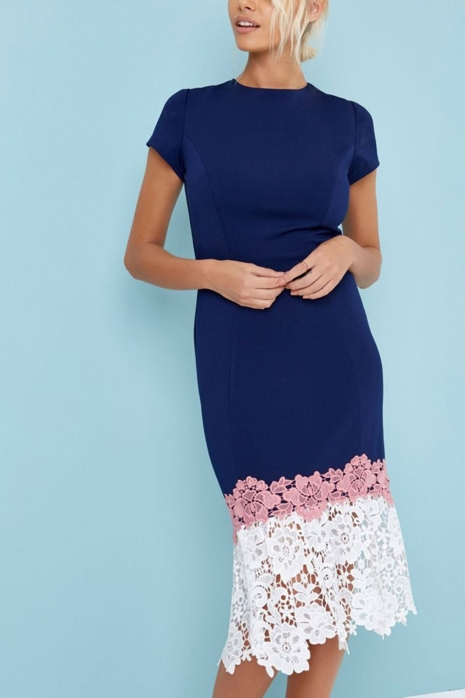 Paper Dolls Navy Crochet Hem Bodycon Dress