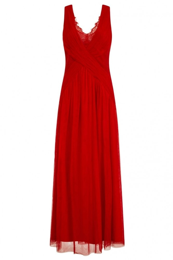 Little Mistress Red Lace Maxi Dress
