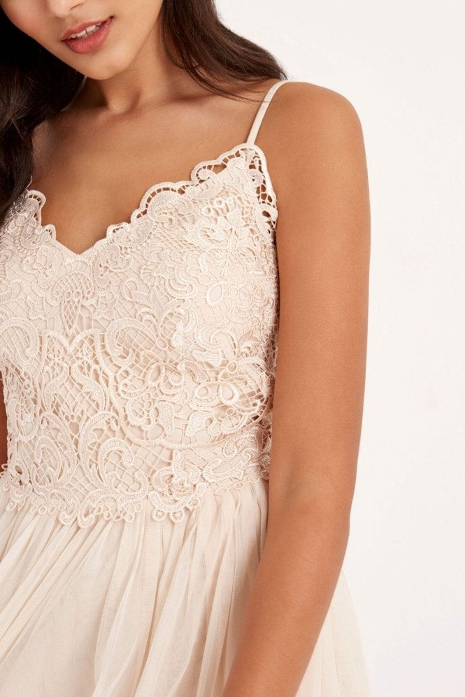 Little Mistress Beige Crochet Midi Dress