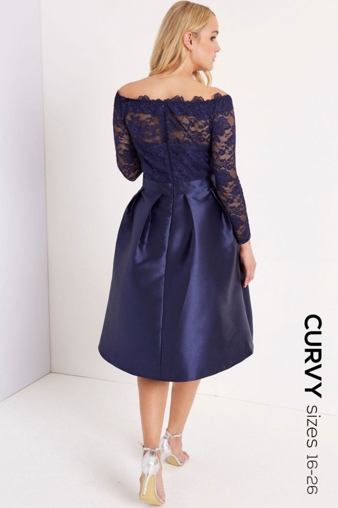 Little Mistress Curvy Navy Lace Midi Dress