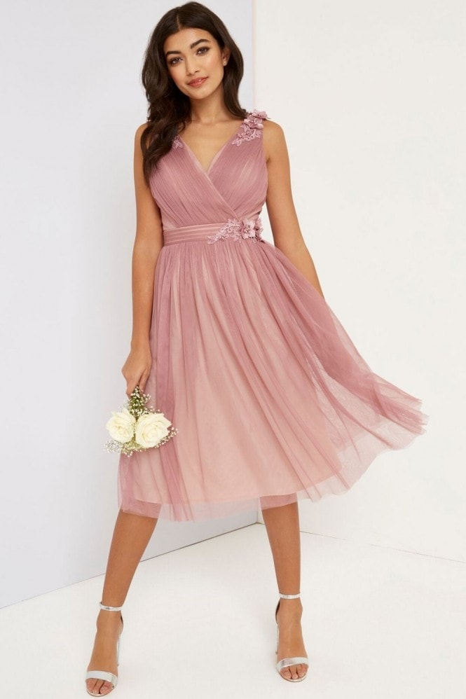 Little Mistress Blush Mesh Midi Dress