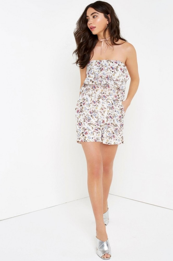 Outlet Girls On Film White Floral Bandeau Playsuit