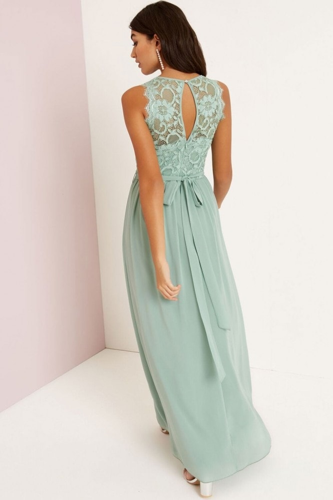 Little Mistress Sage Lace Top Maxi Dress