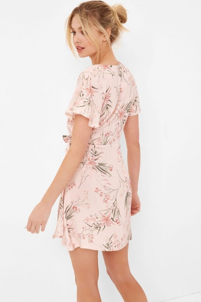 Girls on Film Botanical Print Wrap Dress