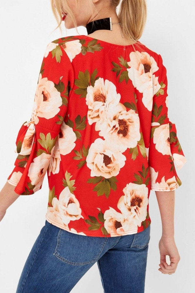 Outlet Girls On Film Red Floral Print Tie Sleeve Blouse