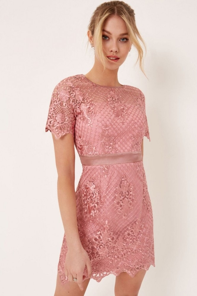 Outlet Girls On Film Pink Lace Mini Dress