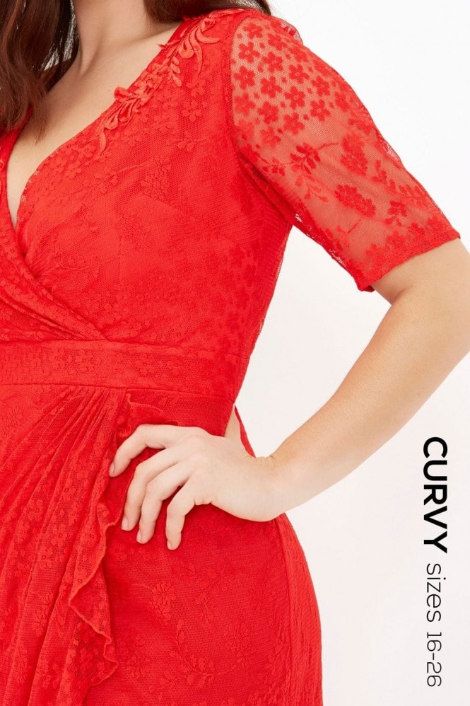 Little Mistress Curvy Red Lace Bodycon
