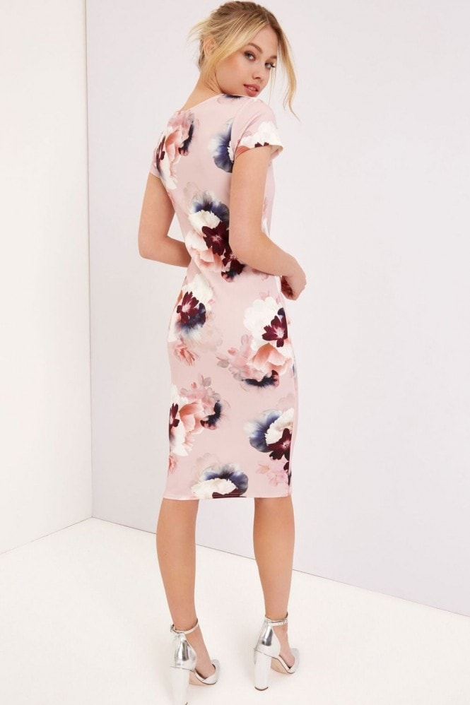 Girls on Film Pink Floral Print Midi Dress