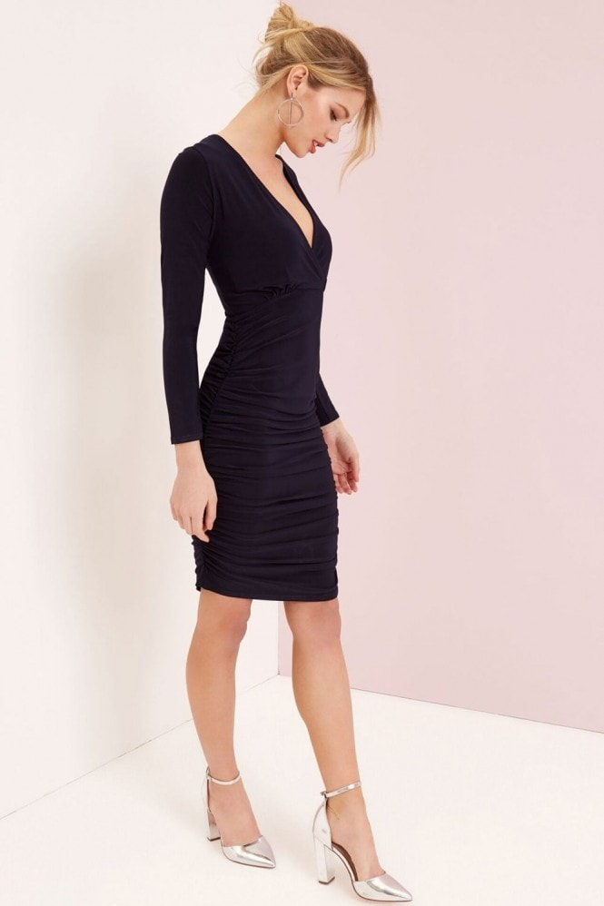 Outlet Girls On Film Navy V-Neck Bodycon Dress