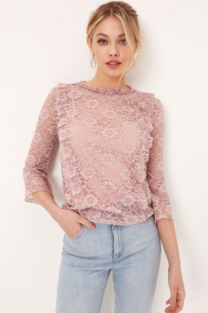 Girls on Film Pink Lace Top