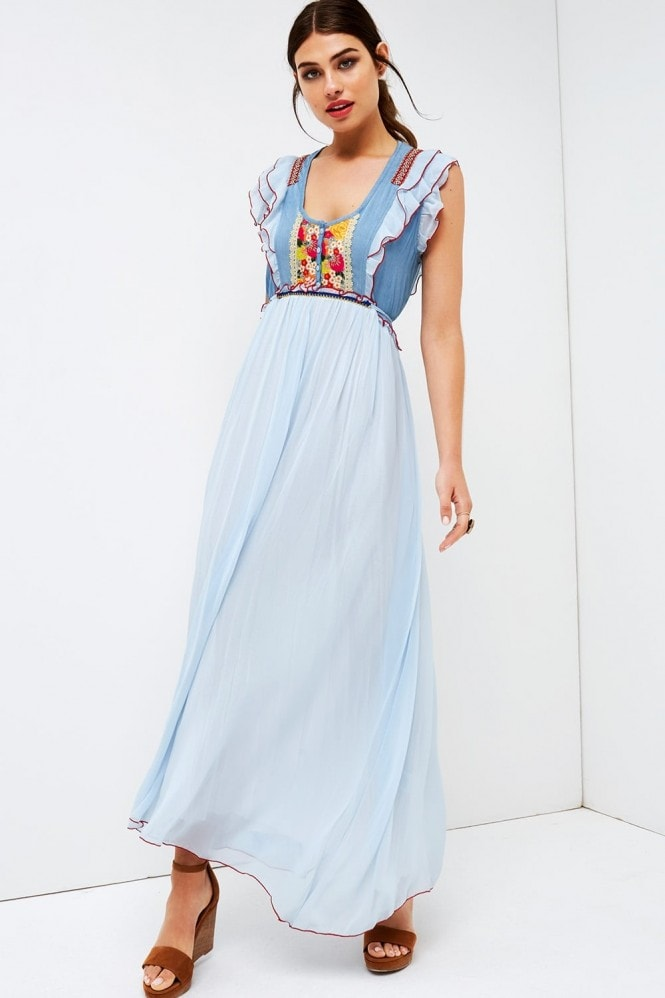 Girls on Film Blue Maxi Ruffle Sleeve